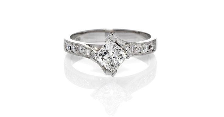 Alise. Princess Cut Claw Set Diamond Ring with Sweeping Grain Set Diamond Band