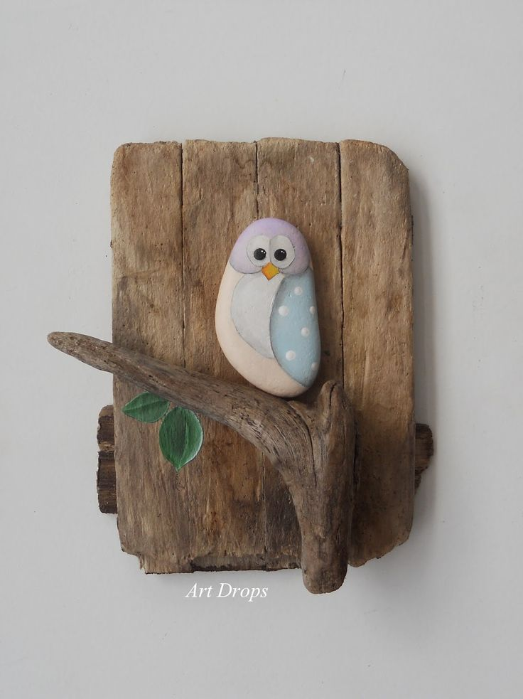 Art Drops. Driftwood and a painted stone - how easy is that?! owl wall plaque for garden or home