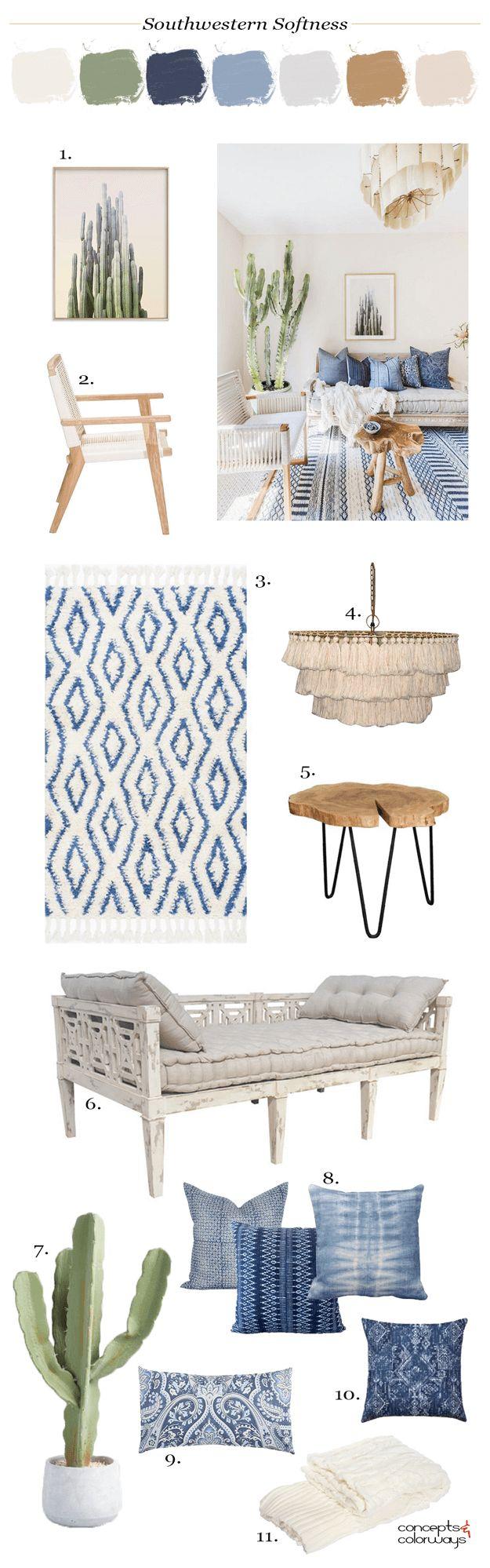 southwestern living room mood board, cactus plants, indigo pillows, indoor cactus, live edge coffee table, mudcloth, mudcloth pillow, southwestern decor, western decor