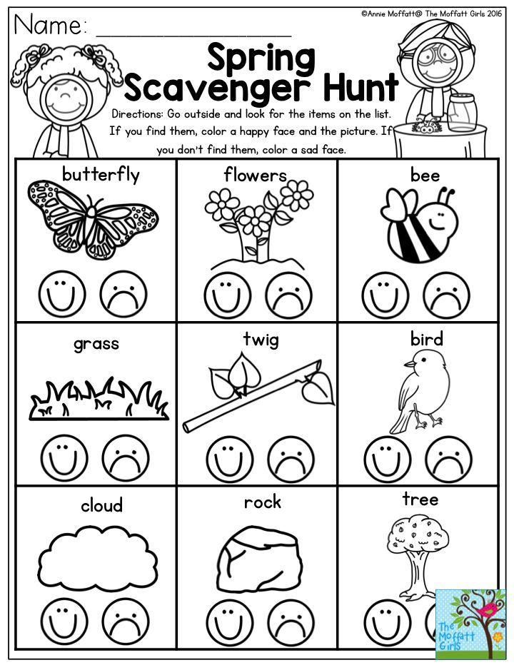 Send your Preschool students on a Spring Scavenger Hunt