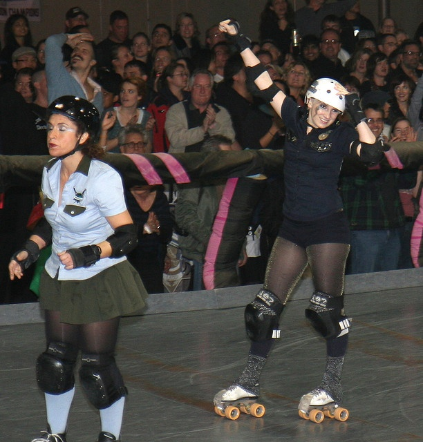 Mila Minute celebrates, Axels of Evil takes a moment to reset. This day in Roller Derby history. L.A. Derby Dolls 2008.