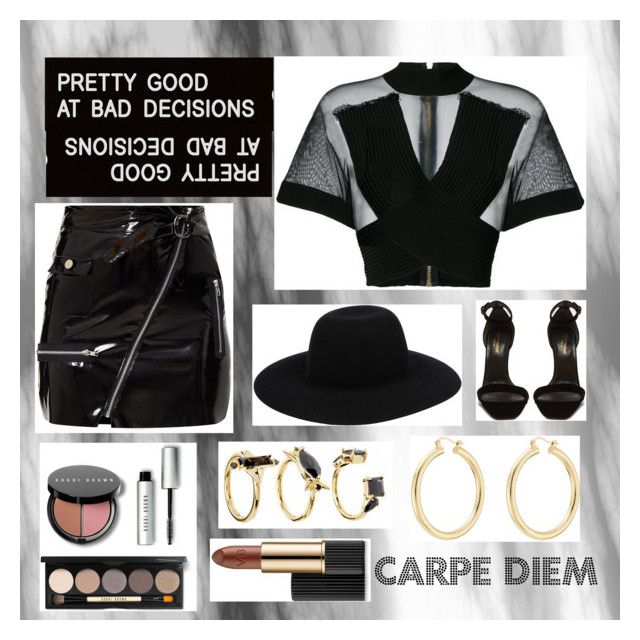 """Carpe Diem"" by briannaduffin ❤ liked on Polyvore featuring Balmain, Yves Saint Laurent, Off-White, Various Projects, Isabel Marant, Noir Jewelry, Bobbi Brown Cosmetics and Estée Lauder"