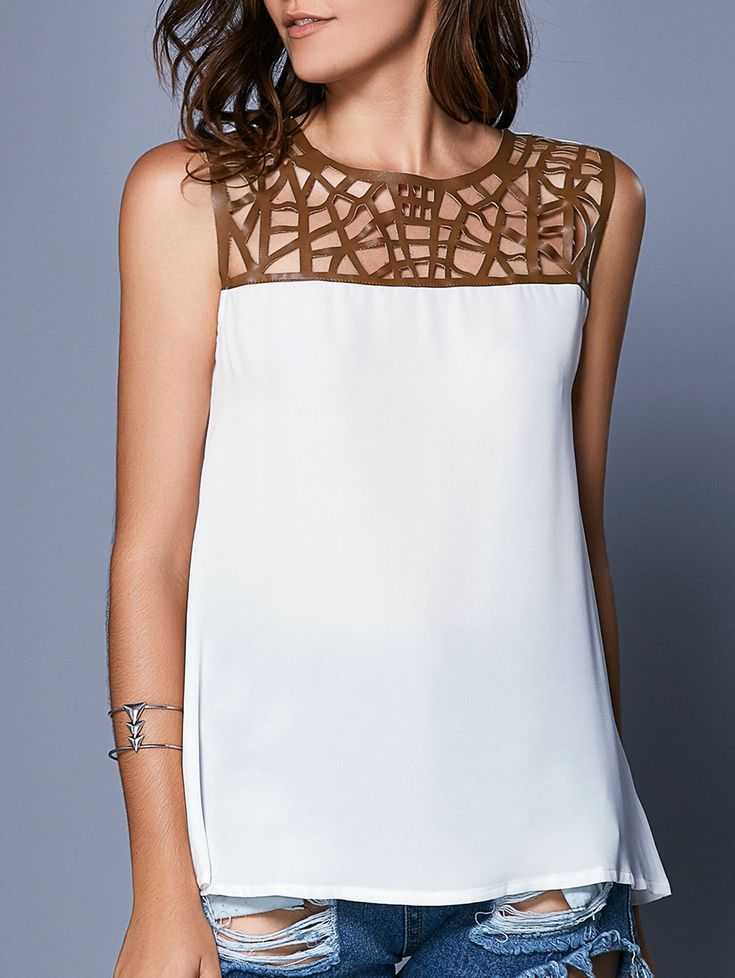 Stylish Sleeveless Hollow Out Splice Tank Top For Women