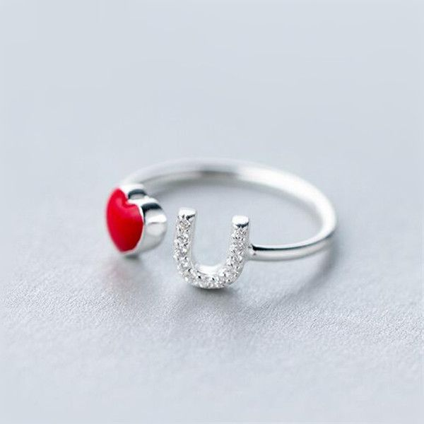 Fashion Creative Red Heart Love You Promise Ring