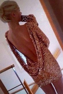 NYE gold sequin glitter dress