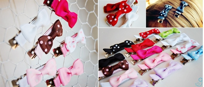 small bow hairclips, fabric flower