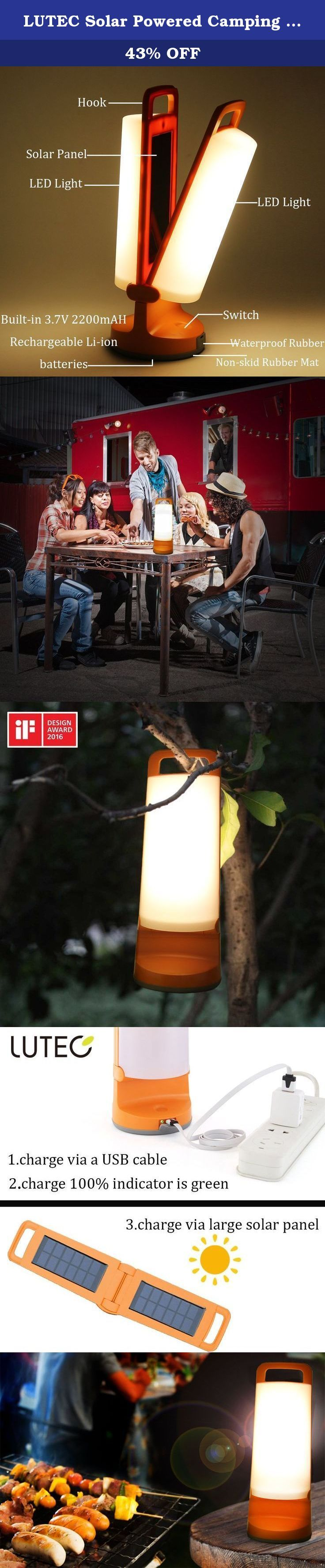 LUTEC Solar Powered Camping LED light 120 Lumens 4000k Max 3 Modes solar lighting Led Night Light Portable Trekking Travel Lantern Waterproof Garden Hand-held Outdoor Emergency indoor Sleeping lamp. About LUTEC LUTEC is one of the leading horizontal integrated manufacturer of premium outdoor lighting. It has professional and international team of designers and engineers that work together everyday, using the most updated software, coming up with innovative solutions and products....
