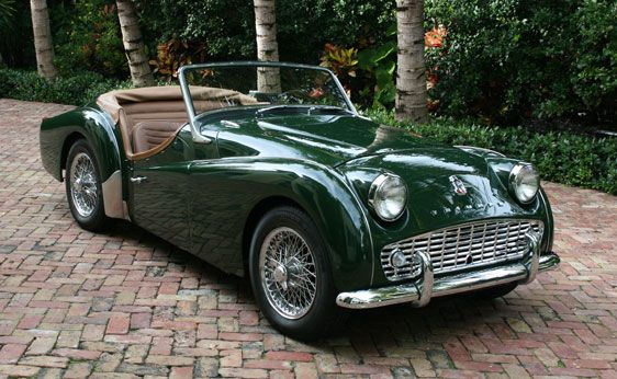 1958 Triumph TR3, equipped with a 1,991-cc, 100-hp overhead valve, inline four-cylinder engine connected to a four-speed manual transmission. Other features include dual SU carburetors, independent front suspension with unequal-length A-arms and coil springs, rigid rear axle with semi-elliptic leaf springs, front disc and hydraulic rear drum brakes. Among the rare options are overdrive transmission and a telescopic steering wheel.