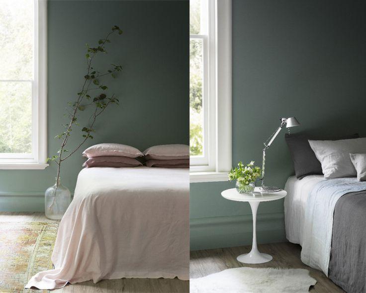 17 beste idee n over groene slaapkamers op pinterest groene slaapkamer decor groene - Verf grijs slaapkamer en blauw ...