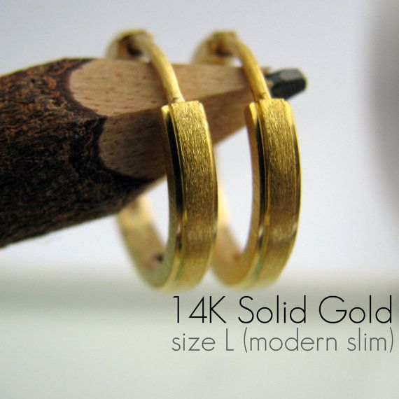 Promotion - 14K Real Solid Yellow Gold Mens Earrings Hoop - Huggie Earrings for Guys - Edgeline Large Size (E004MY)