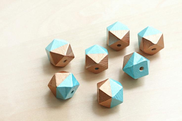 Geometric 2 tone Hand Painted Wood Beads