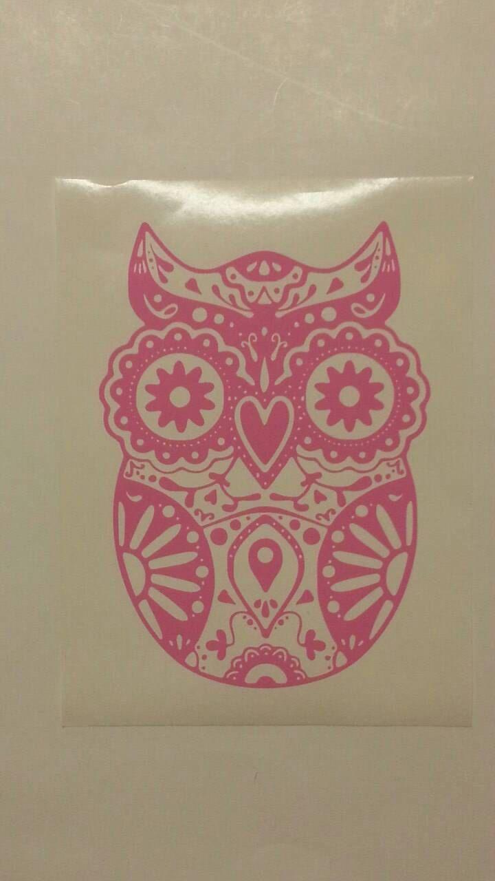 Owl Sugar Skull Car Decal, Sugar Skull Owl, Skull Owl, Sugar Skull Vinyl Car Decal, Ready to stick/apply decal, Sugar Skull Owl Decal Laptop by GarageGraphics360 on Etsy