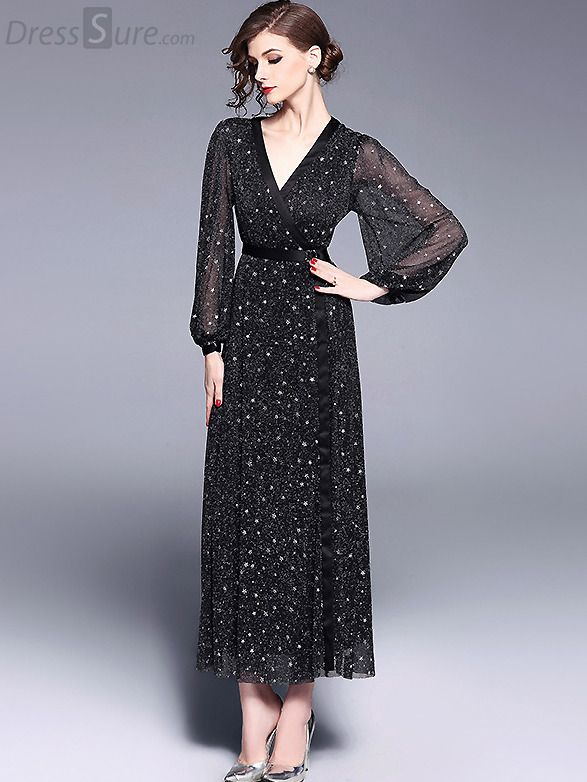 4fec7d9ead06fc Buy Party V-Neck Long Sleeve Star Pattern Maxi Dress with High Quality and  Lovely Service at DressSure.com