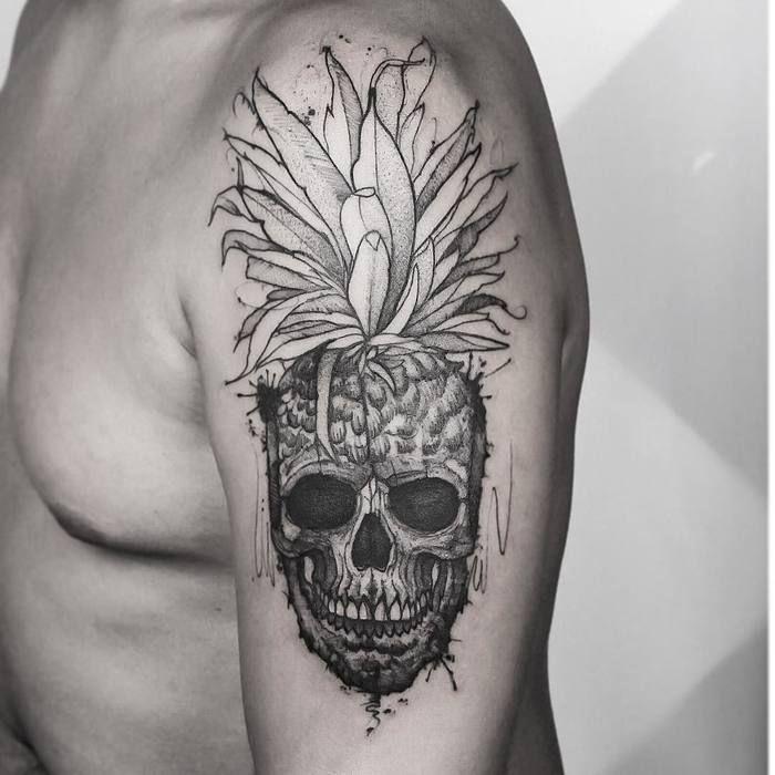 Sketchy Pineapple Skull Tattoo by Andre Felipe
