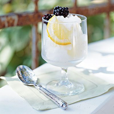 Limoncello sorbet- Cooking Light: Sweet, Blackberries Recipes, Food, Fresh Blackberries, Cooking, Limoncello Mint Sorbet