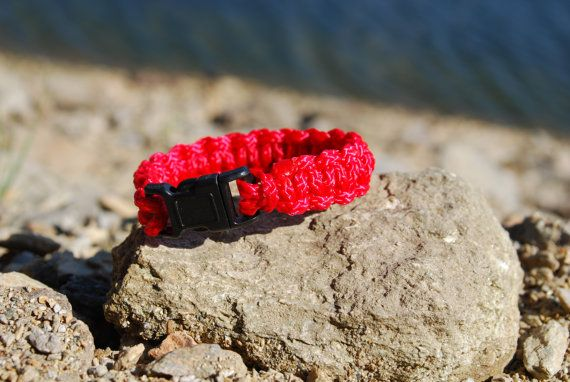 Red Handmade Paracord Survival Bracelet