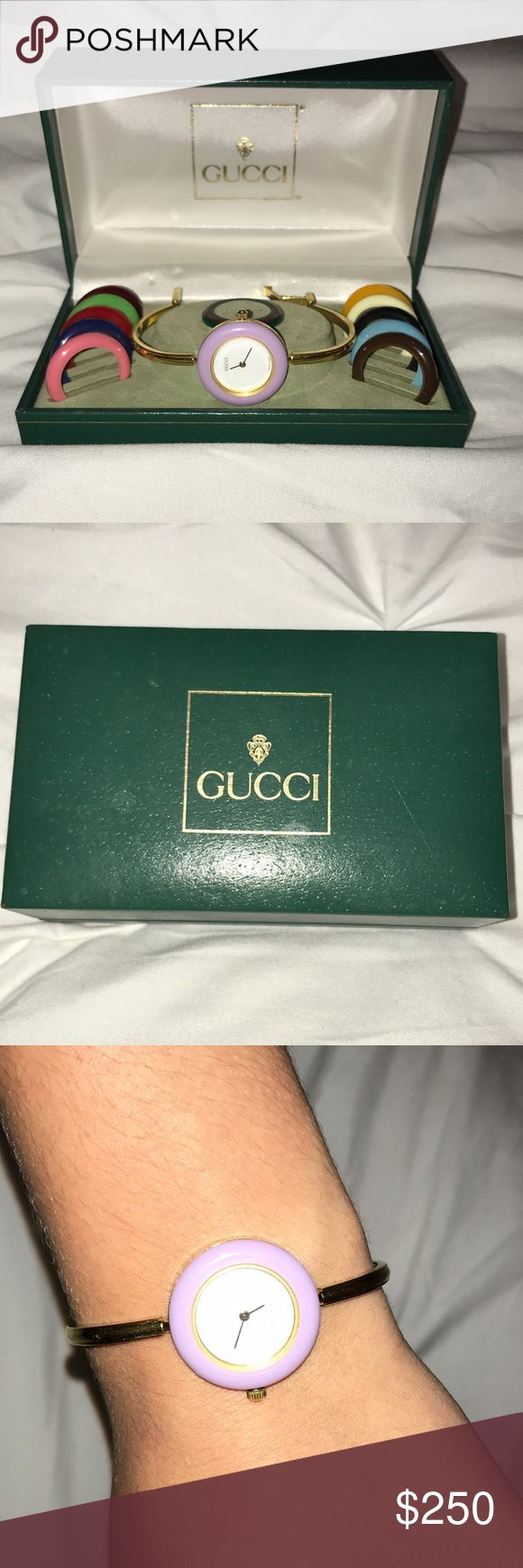 """Vintage Gucci watch Thin, Gucci watch with 12 interchangeable bezels. Never worn. The face is white with """"GUCCI"""" on the inside. Gold band. Gucci Accessories Watches"""