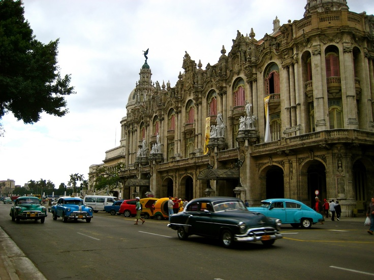 Cuba... streets full of 50's cars, grocery stores empty of everything but mayonnaise and wine.