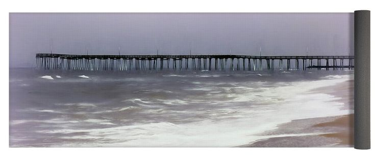 """Virginia Beach Fishing Pier Yoga Mat by Leslie Montgomery.  This yoga mat is 24"""" x 72"""" in size and made from eco-friendly PVC.  It comes with black carrying bag and a 30-day money-back guarantee."""