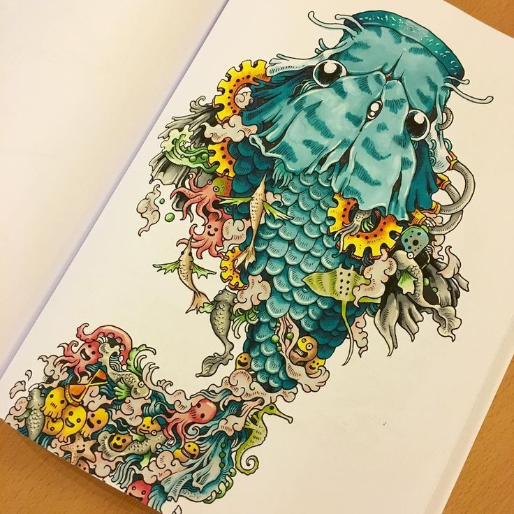 My First Page Completed With All Promarker Fish Doodleinvasion Colouring Fridaynight