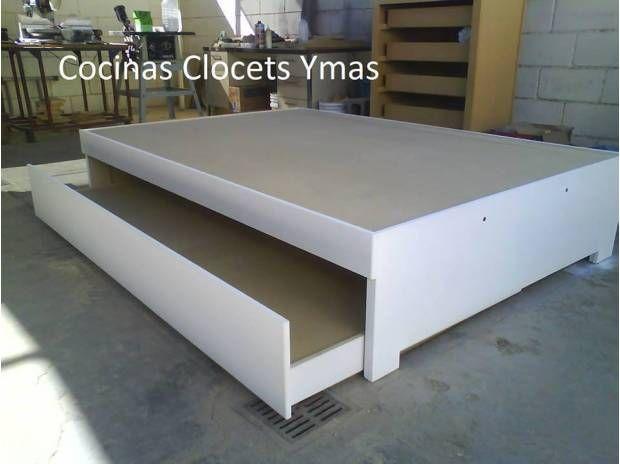 Bases para cama dobles o cangureras bonitas for Base cama individual con cajones