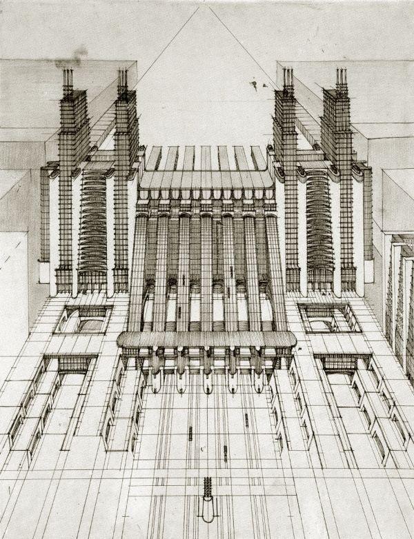 Antonio Sant'Elia. Central Station project for Milan. 1914 #architecture #milan