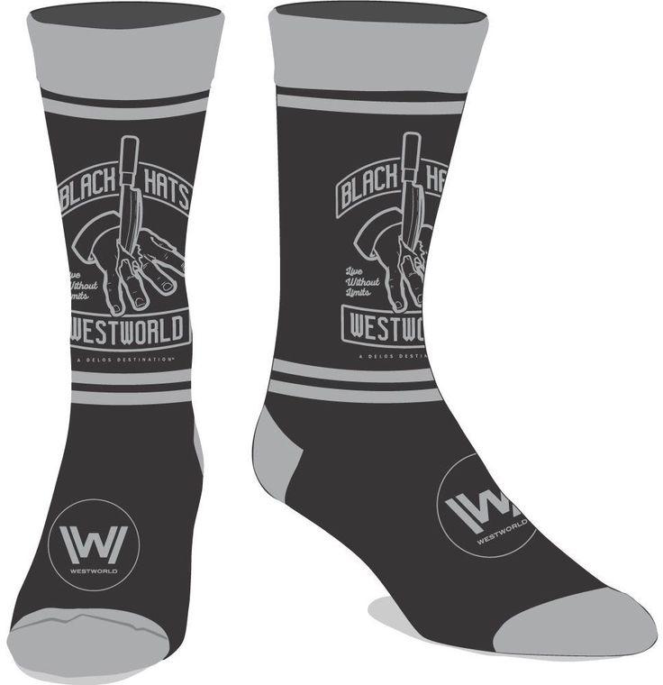 WestWorld 1 Pair Men's Crew Socks HBO West World TV Show Black Hats Knife Hand #Bioworld #CrewSocks