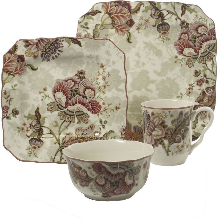 Traditional Floral Cream Dinnerware Set Dishwasher Safe Porcelain 16 Piece New #222Fifth #Dinnerware #Kitchen #Plates #Set