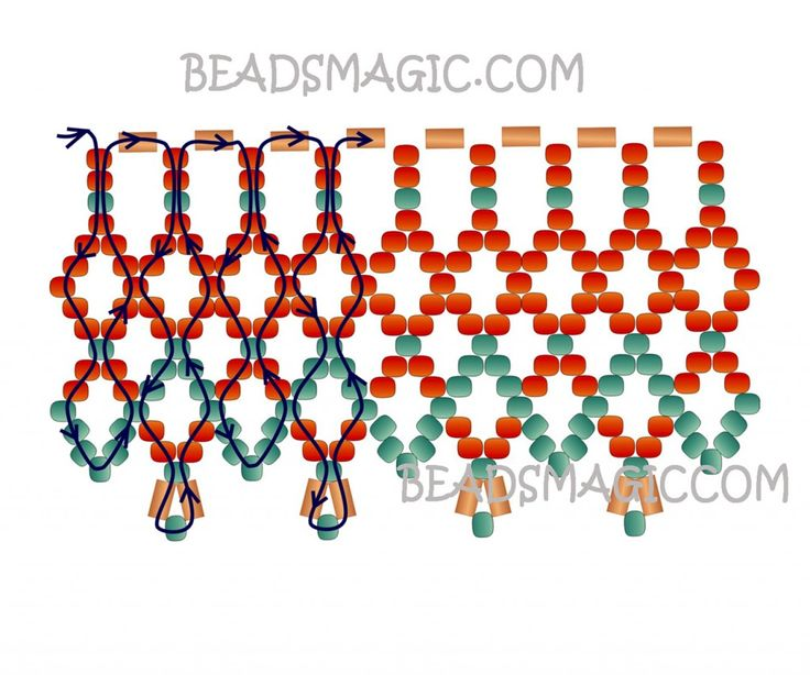 Free pattern for necklace Bronze Lace | Beads Magic