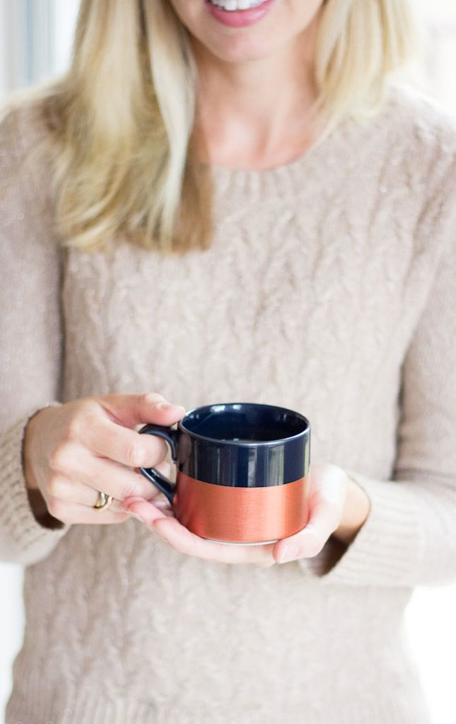 Dress up plain dollar store mugs with a sleek metallic makeover.