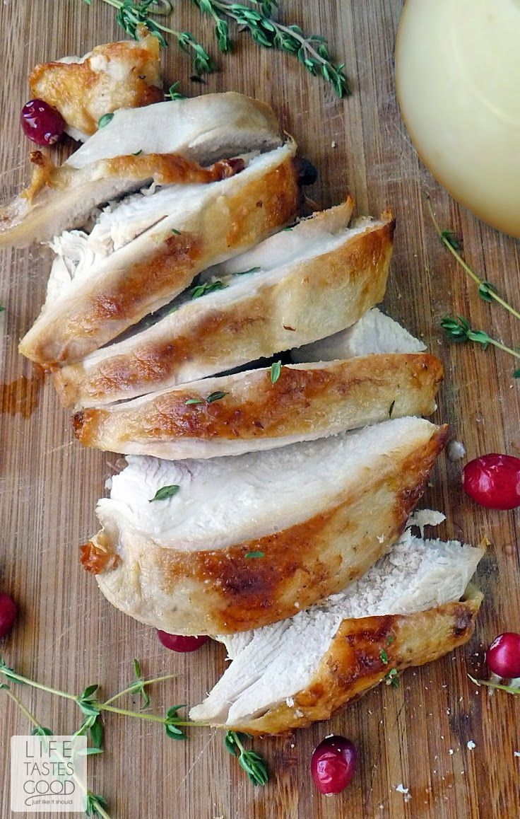 How To Roast a Turkey | by Life Tastes Good for tender and moist results every time! Brine the turkey and roast to the perfect temperature for the best tasting roast turkey! #OXOTurkeyDay #Thanksgiving