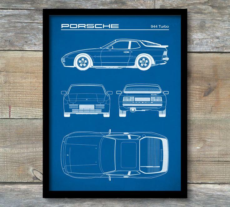 Patent Print, Porsche 944 Turbo Blueprint, Porsche 944 Poster, Porsche 944 Art, Porsche 911 Decor, P262 by NeueStudioArtPrints on Etsy