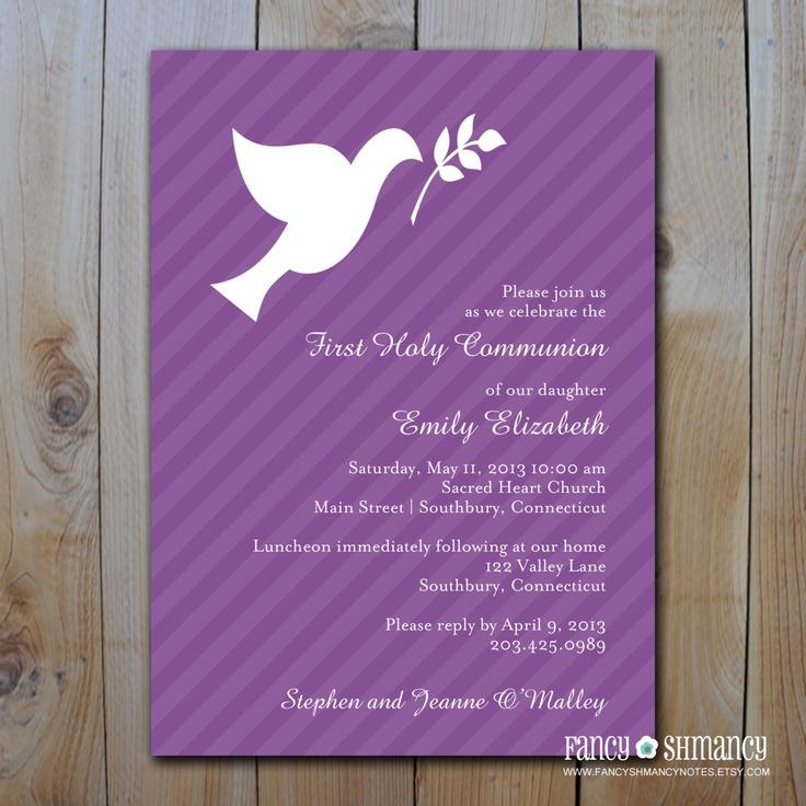 communion  confirmation  baptism invitation  purple
