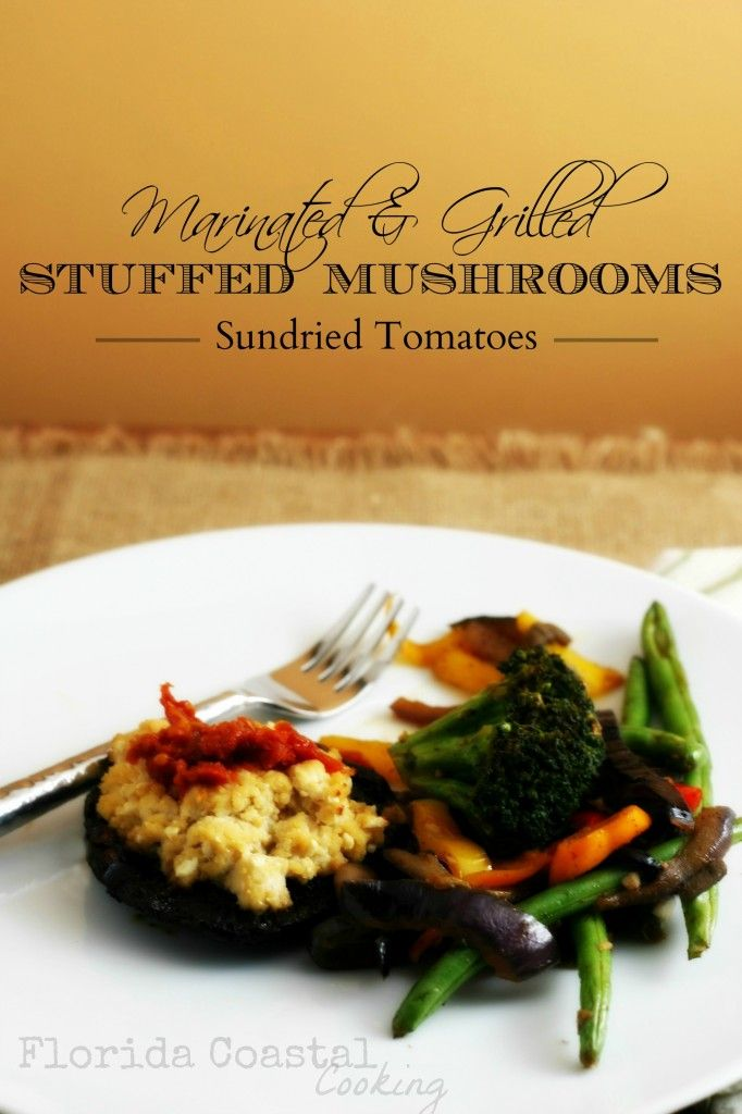 Vegan Marinated & Grilled Stuffed Mushrooms