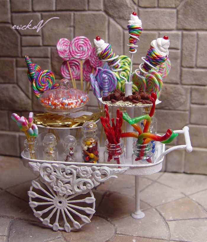 Miniature Harry Potter Inspired Honeydukes Candy Trolley Cart