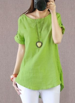 Solid Casual Polyester Round Neckline Short Sleeve Blouses (1043272) @ floryday.com