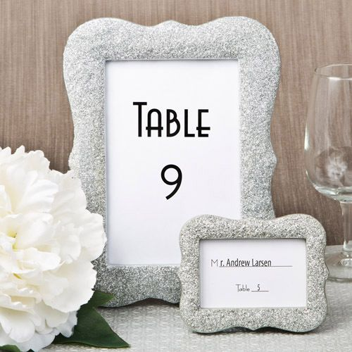 Glitzy silver bling glitter wedding table number frames for Glitter numbers for centerpieces