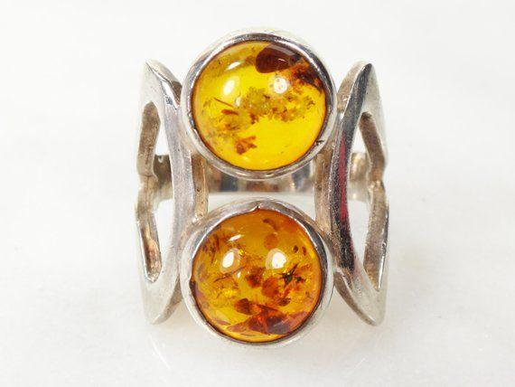 Sterling Silver Amber Ring Gemstone Ring Large Gemstone Ring Antique Amber Ring Large Antique Ring Handmade Gemstone Ring Gemstone