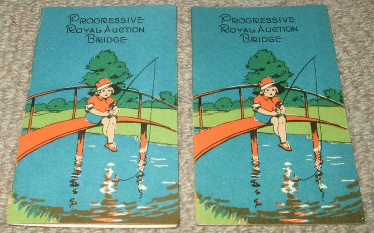 Girl fishing 2 x vintage progressive bridge score