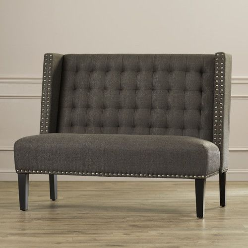 Features:  -Back is inset by dual nail head trimmed wings and is padded with biscuit back style stitching.  -Linen like upholstery cover (100% polyester).  Bench Type: -Entryway bench.  Seat Material: