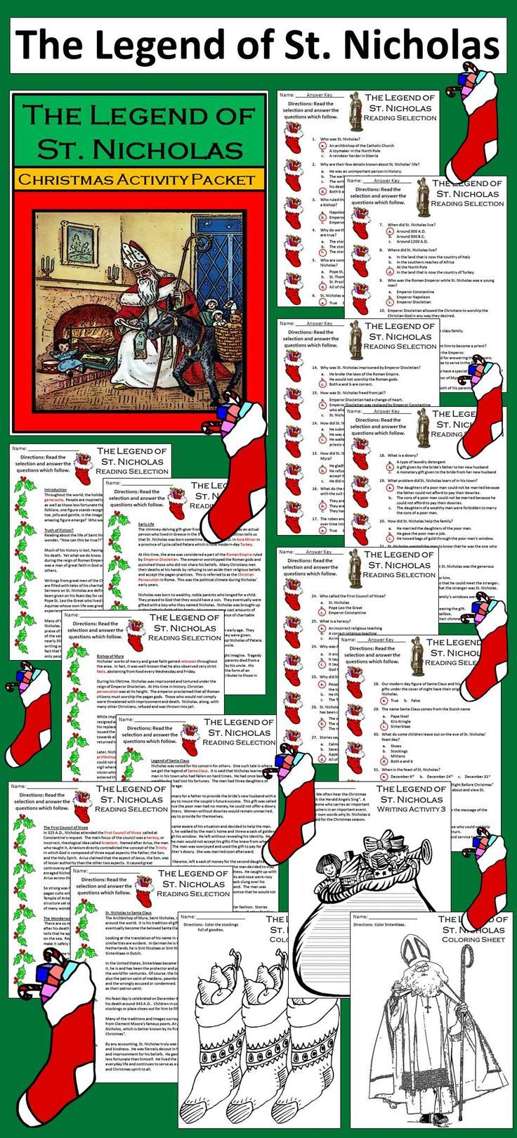 Legend of St. Nicholas Christmas Activity Packet: Details the life, works, and legends of St. Nicholas (AKA Santa Claus), Archbishop of Myra, of the 3rd century A.D. Packet includes both color and b/w versions of all pages.  Contents include: * 6 Christmas Reading Comprehension Selections * 6 Christmas Reading Comprehension Quizzes * 3 Christmas Writing Activities * 1 Fireplace & Stocking Craft * 5 Coloring Sheets * Answer Keys   #Christmas #Saint #Nicholas #Teacherspayteachers #Language…