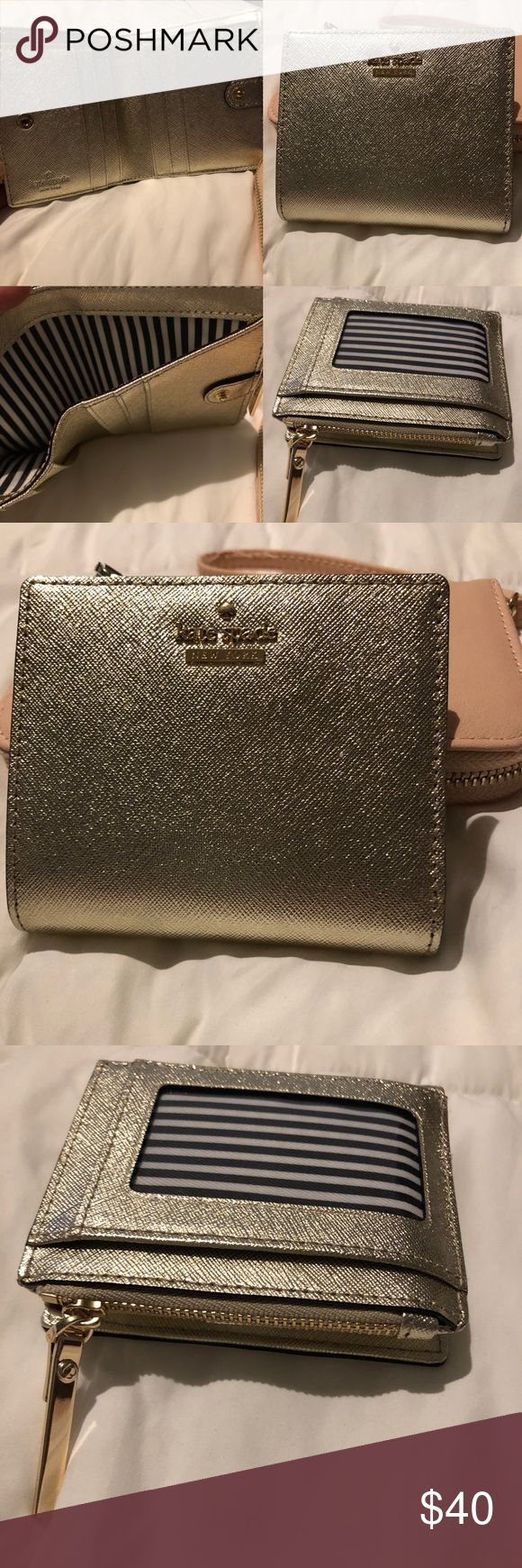 Kate Spade Wallet Leather Gold Metallic 2017 NWOT Kate Spade Wallet Clutch Gold Nordstrom 2017 NWOT Gorgeous! I'm just used to much larger wallets. 6 credit card slots, 1 ID slot, 1 zip pocket, 1 top cash compartment. Style # PWRU6017B Kate Spade Bags Wallets
