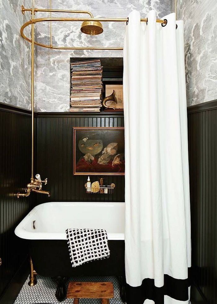 To Brass or Not To Brass In the New Un-Bathroom - laurel home - fabulous wallpaper, black beadboard, art, black tub and brass fittings