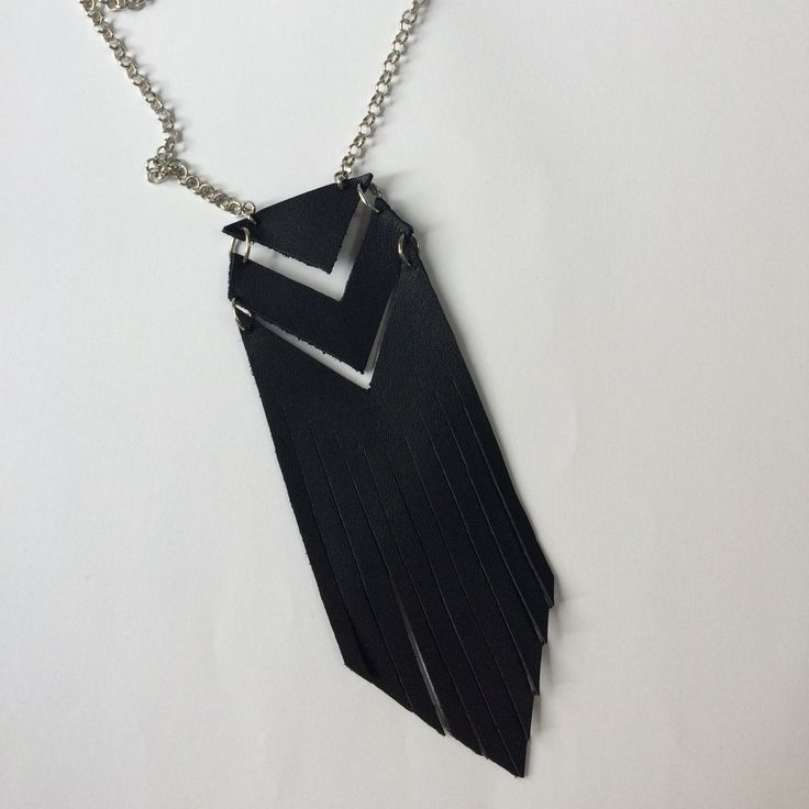 Original leather Aztec pattern necklace