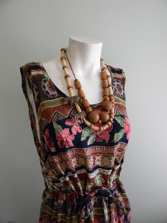 Batik dress with wooden jewelry.  love.