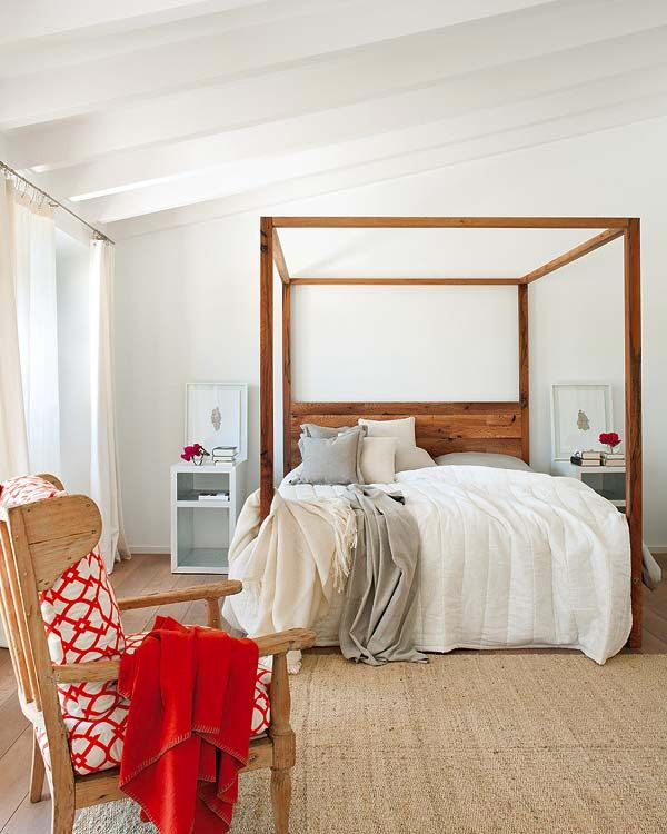 White Wooden Four Poster Bed Part - 35: For Similar Bedding And Solid Wooden Four-poster Beds Try: Http://