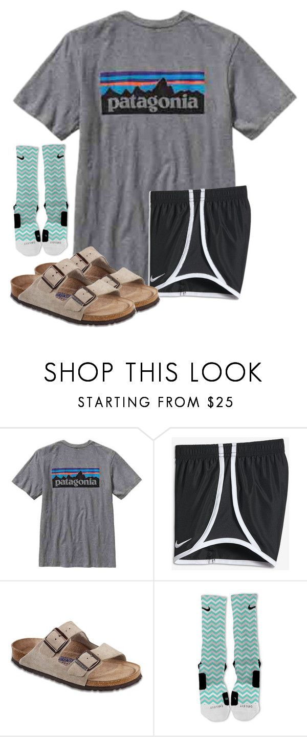"""""""It's too cold to wear this """" by christyaphan ❤ liked on Polyvore featuring Patagonia, NIKE and Birkenstock"""