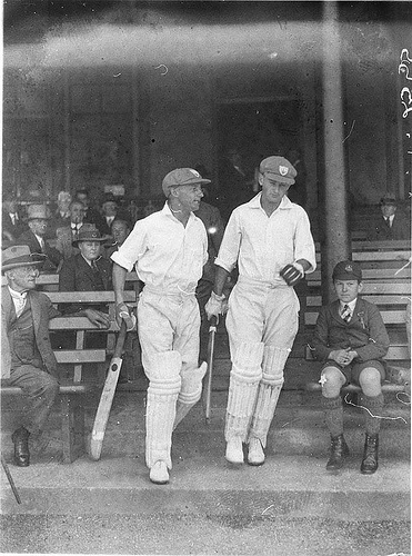 Bradman and Stan McCabe take the field, 18/10/1932 / by Sam Hood. State Lib of NSW Collection.