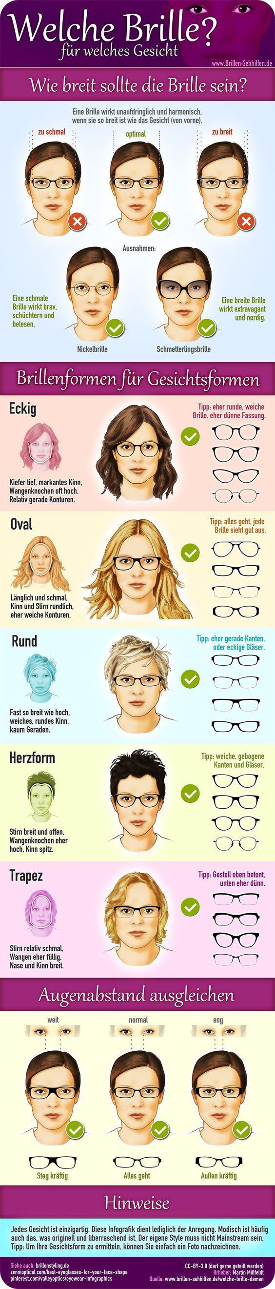 Welche Brille für welches Gesicht (Damenbrille) -> Quelle und mehr Infos: www.b… – Claudia