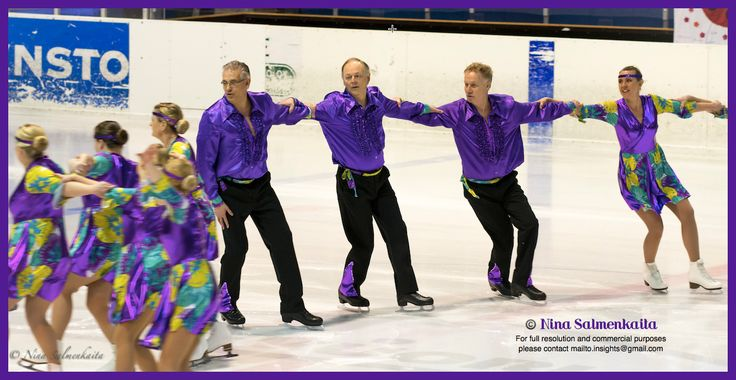 Team Diz Harmony SWE provides a showcase of synchronized figure skating being a hobby for everyone! Picture taken at a competition in Porvoo, Finland on Mar 7, 2015.